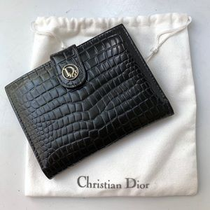Vintage DIOR black leather wallet croc embossed